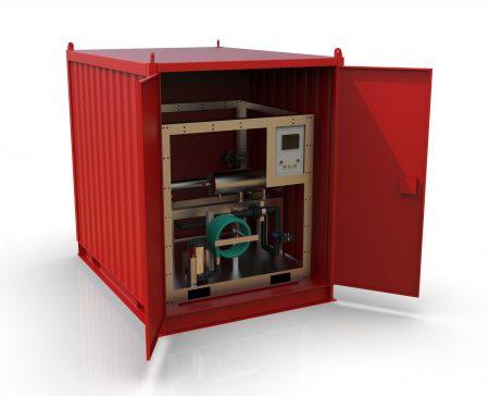 Vannrensesystem levert i container for beredskap